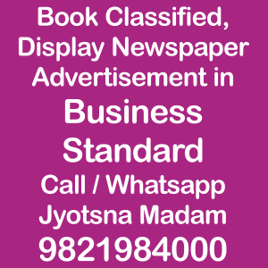 Business Standard ad Rates for 20018-19