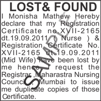 Lost and found public notice ad sample