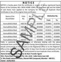 Share certificate lost public notice ads