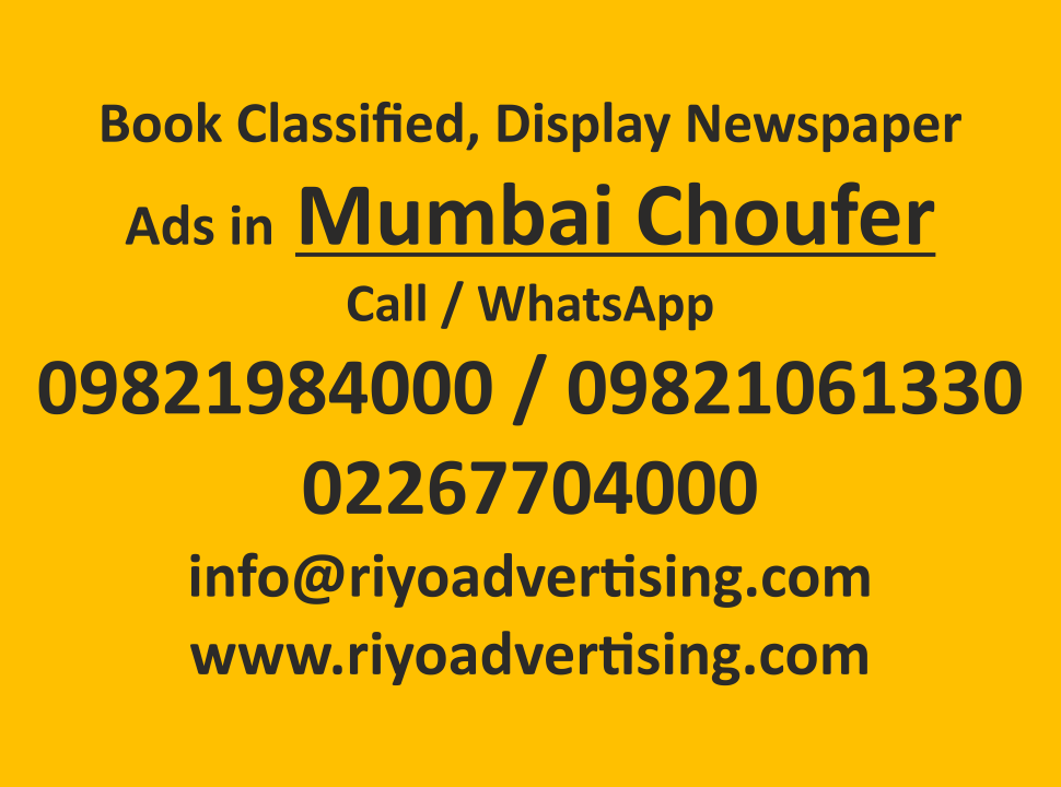 Mumbai Choufer ads in local and national newspapers
